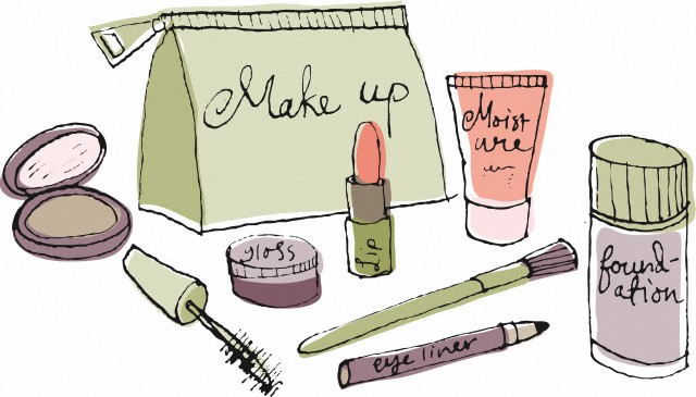 A make up bag and cosmetics --- Image by © ImageZoo/Corbis
